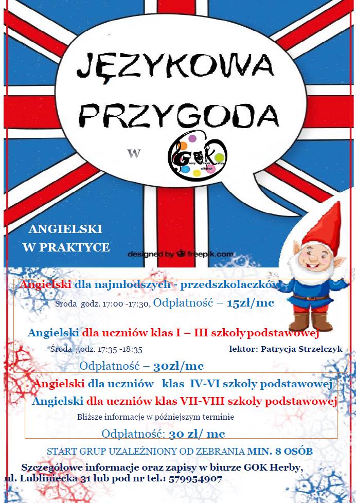 plakat przedstawia językową przygode