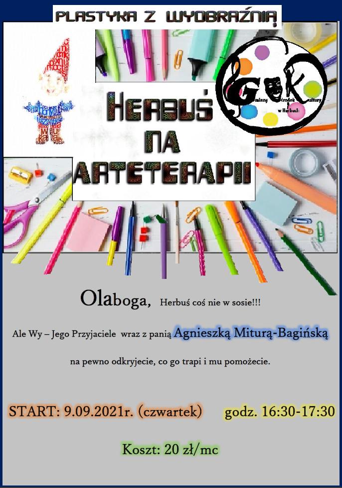 plakat HERBUŚ NA ARTYTERAPII