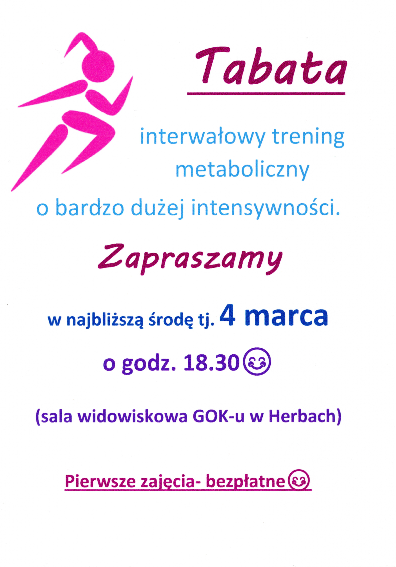 Zajęcia tabaty - plakat informacyjny