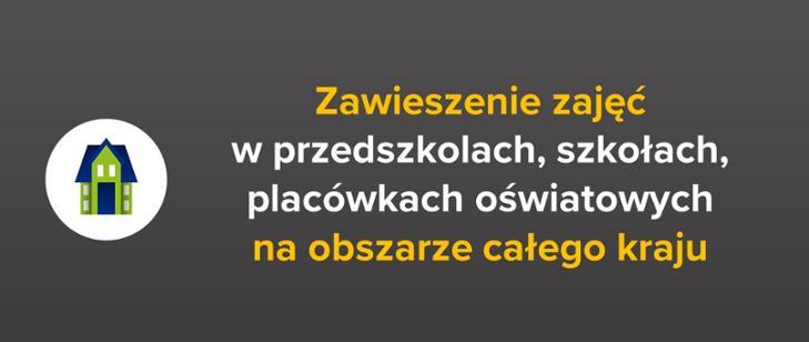 Zawieszenie zajęć - plakat informacyjny