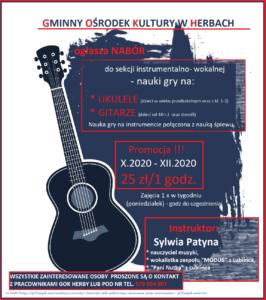 Plakat informacyjny dotyczący naboru do sekcji muzycznej