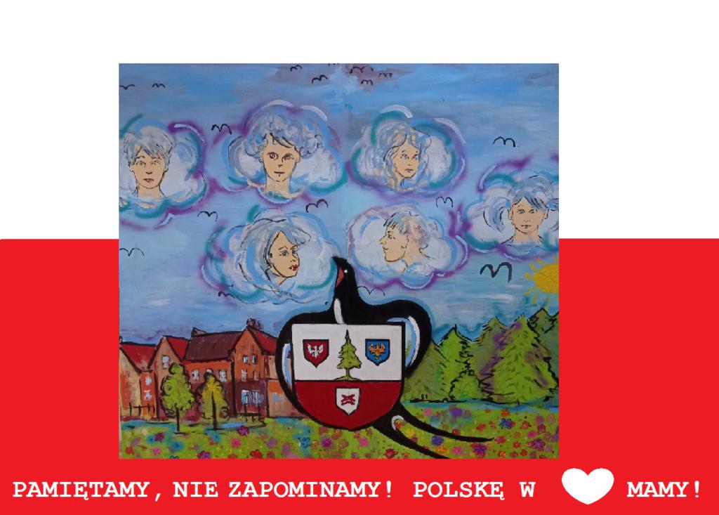Mural przedstawiający herb gminy Herby, jaskółkę i twarze osób otoczone chmurami, po lewej stronie domy a po prawej drzewa