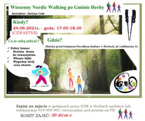 Plakat przedstawia informację opisaną pod postem. Plakat informuje o pierwszych zajęciach z nordic walking