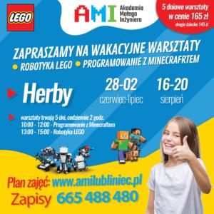 Plakat przedstawia propozycję opisaną w poście, dotyczącą wakacyjnych warsztatów z AMI