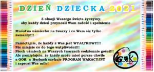 Plakat z życzeniami z okazji Dnia Dziecka