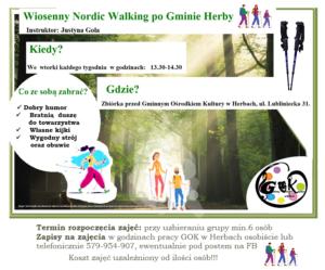 Plakat przedstawiający propozycję aktywnego spędzenia czasu wolnego - spacer z kijkami Nordic Walking